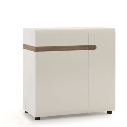 Chelsea Living 1 Drawer 2 Door Sideboard 85 cm Wide in white with an Truffle Oak Trim